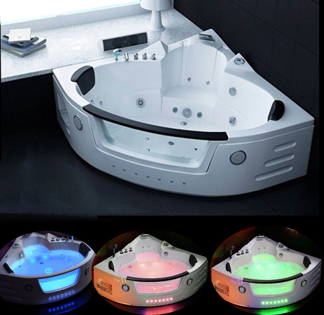 Whirlpool massage hydrotherapy White corner bathtub hot tub 2 two ...