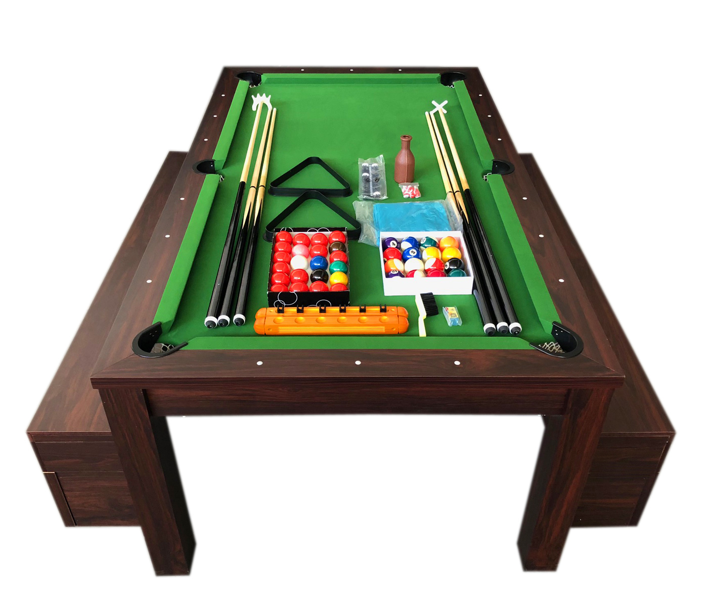 Fine Pool Table 7 Feet Green And Dinner Table With Benches Rich Green Pdpeps Interior Chair Design Pdpepsorg